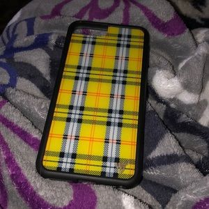 iPhone 8+ Yellow plaid wildflower case